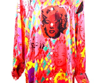 ICONIC ESCADA Marylin Monroe print shirt // escada shirt / silk shirt / designer shirt / womens shirt silk / marylin monroe print