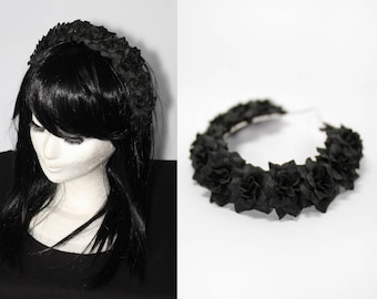 Black black roses hair crown - gothic casual flowers headdress