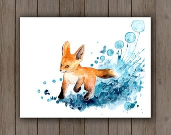 Watercolour Art Print - Baby Fox Puppy Splashing Snow / Watercolor Splatter Painting / Surreal Wildlife Red Fox Pup / Turquoise Blue Teal
