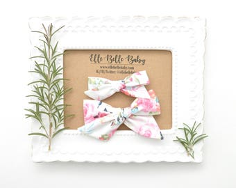 Pink & Navy Floral Schoolgirl Hair Bow - Hand-tied hairbow-Evy bow -Cotton Baby Headband - Newborn Hairbow - Toddler Hair Clip