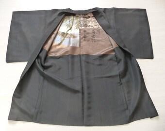 Kimono or Haori made of heavy silk and nice decorations inside, vintage