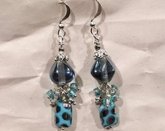 Blue Glass Dangle Earrings