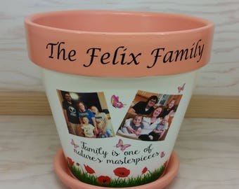 Thank you gift, Terracotta Flower Pots, Personalized Flower Pots, Personalized gift, 7 3/4 Inches Tall