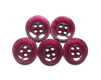 5 round buttons vintage plum 14 mm