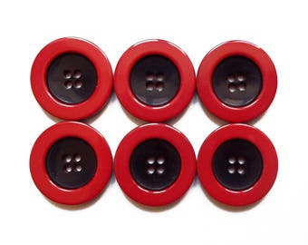 6 buttons round red and black acrylic 22 mm / top quality