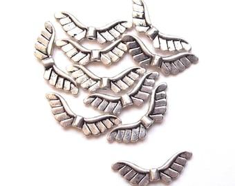 10 beads 24 mm silver metal wings
