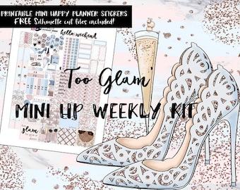 Too Glam MINI Happy Planner weekly kit / MINI Happy Planner printable stickers / Digital Printable Planner Stickers / Silhouette Cut Files