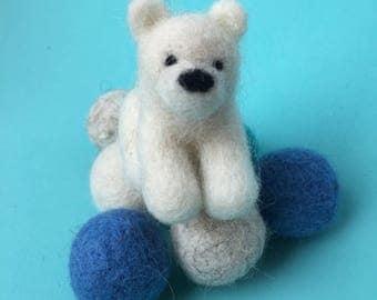 needle felted polar bear, needle felted animal, fiber sculpture, needle felting, nursery art, handmade fiber sculpture, handmade gift