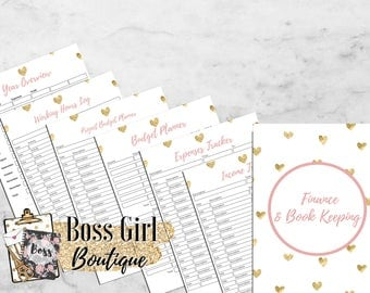 Finance and Book Keeping -  Printable planner inserts - pink and gold planner inserts for bloggers/entrepreneurs - girl boss blog planner