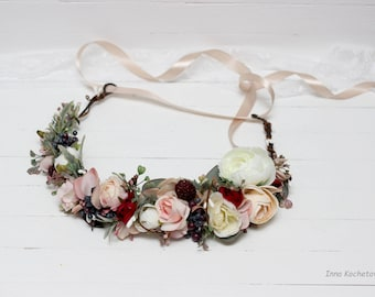 Ivory burgundy blush pink flower crown Bridal hair wreath Boho Woodland Wedding headpiece Flower girl Bridesmaid crown Maternity photo props