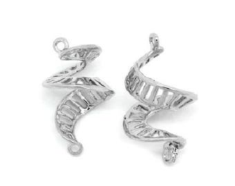 Set of 2 snails 21 mm x 12 mm silver-plated charm connectors