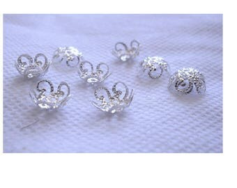 Set of 50 bead caps 10 mm silver color filigree flower shape