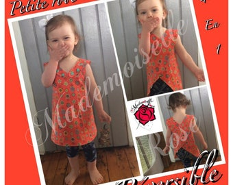 Dress girl reversible, washable layer dress, dress scalable, tunic, Crossroads on the back, top girl cross back dress