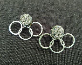 Sterling Silver Earrings, Sterling Silver Druzy Earrings, Handcrafted Jewelry, Artisan Earrings, Geometric Earrings, Silver Jewelry