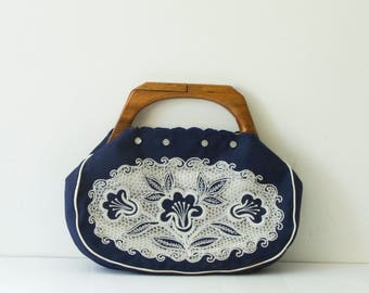 Vintage Veloso's Handbag/ Navy Handbag/ Embroidered Clutch/ Wooden Handle/Vintage Purse/ 1970's