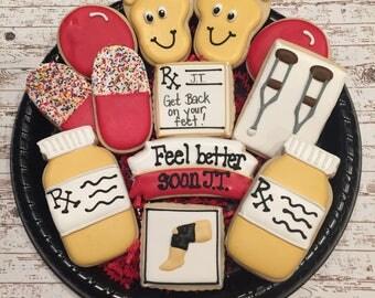 Get Well Sugar Cookies/ Surgery Gift / Knee Surgery Sugar Cookies / Decorates Sugar Cookies / Get on your Feet