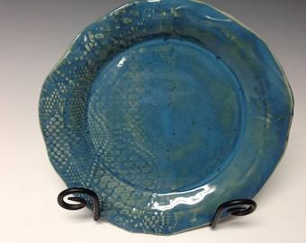 Handmade platter, oasis blue, lace imprint (16162)