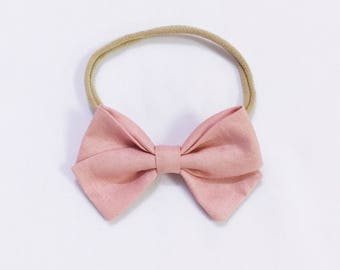 Dusty pink charley signature bow headband