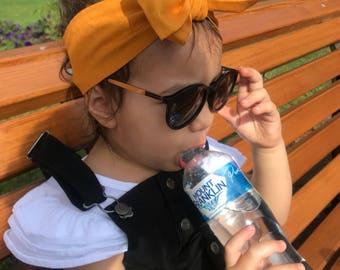 Boho mustard headwrap topknot baby headband, baby topknot, knotted headband, baby headband, baby headband,
