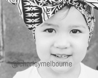 Oversized bow headband baby toddler headwrap girls cotton samoan fiji tribal print newborn kids hairbow accessories