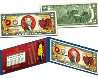 Chinese Zodiac Lunar New Year Genuine Two Dollar U.S. Bills  -  Choose Your Zodiac