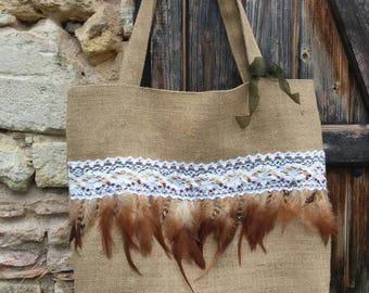 Large burlap Tote handbag