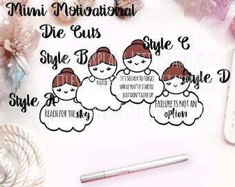 Mimi Hand Drawn | Motivational Mimi Die Cuts Set of 2 | Planner Accessories