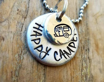 Happy camper rear view mirror charm. Rearview for camper. Camping gifts. Love to camp. Friend gift. New RV gift. Recreational vehicle decor