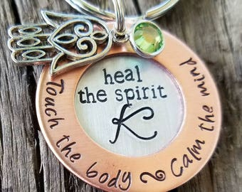 Personalized hand stamped keychain. Massage therapy. Holistic healing. Reflexology. Yoga birthday gift. Mothers day. Gift under 15. Healer.