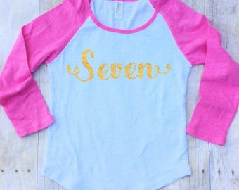 Girls 7th Birthday Shirt-Seventh Birthday Shirt-Seven Birthday Shirt-Gold Glitter Birthday Shirt-Seven-7th Birthday Shirt-Girls Birthday