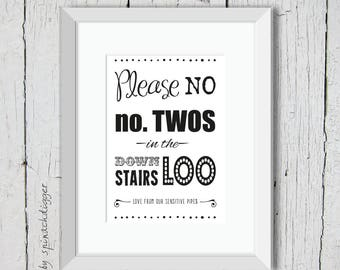 Bathroom Sign PRINTABLE, No Number Twos, Downstairs Loo, Bathroom Art, Bathroom Sign Design Inspirations