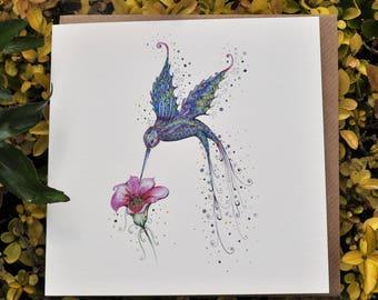 Purple Hummingbird 6x6 Greeting card