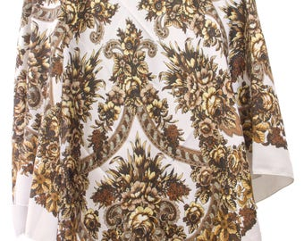 Russian Scarf w\o fringes - Floral Pattern Classical Design Fashion Scarf - Square Shape - Beige Color (A)