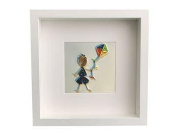 Baby Nursery Wall Art Personalized Framed Paper Quilled Little Dreamer Boy with Kite
