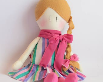 Fabric Doll - Handmade doll - Fancy cloth doll - Stripes cloth - Cotton doll - little girl doll - soft doll - Blond hair doll - braid hair