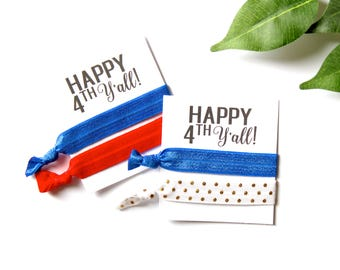 Happy 4th Y'all Hair Tie Favor | 4th of July | 4th of July Party | Happy 4th | 4th of July Decor | Red, White, & Blue Hair Tie