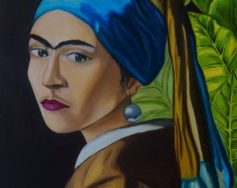 Frida & Vermeer - oil painting by Romanian Artist - Rina - Tortillon Collection