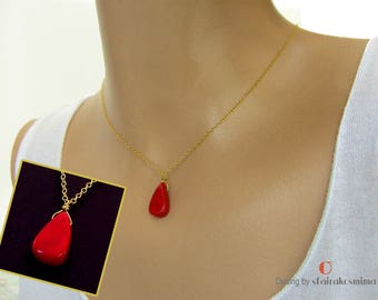 Red Coral Drop Necklace, Gold Red Coral Necklace, Gold Coral Pendant, Red Drop Pendant, Single Coral Necklace