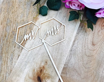 CLEARANCE! 1 ONLY Metallic Gold Hexagon Mr Mrs Cake Topper Mr & Mrs Cake Topper Cake Decoration Cake Decorating Mr Mrs Cake topper Sugar Boo