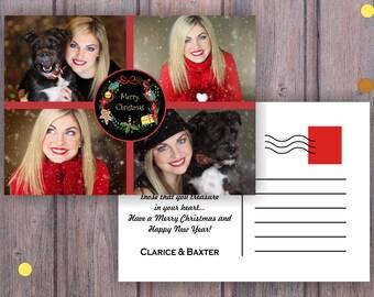 Christmas Postcard, Postcard with photos , Greeting Season Postcard, Greeting Cards, Christmas Card, Printable