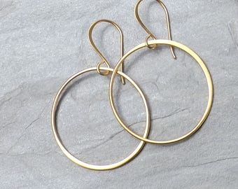 Large gold hoop earrings / Satin 24K Gold Plated Vermeil circle earrings / Large dangle hoop earrings