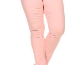 Pink Plus Size Pants Jeans Blush Skinny High Waist 5 Pockets