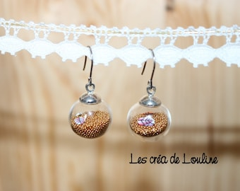 Earrings globe with gold microballs