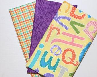 SALE - 3 Fat Quarters - purple, yellow, green - cotton fabric