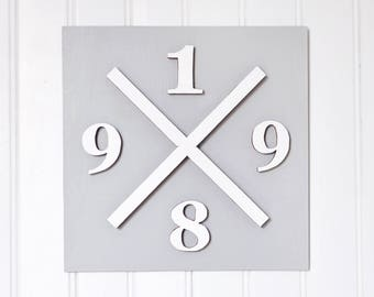 Tableau date de naissance, croix et chiffre - tableau 3D - date of birth board - 3D board - numbers, cross - personalized your own board