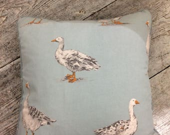 Feather filled blue country duck fabric cushion,