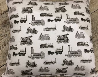 Feather filled steam engine cotton fabric cushion,