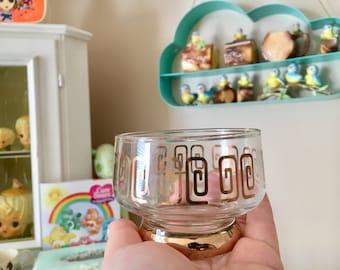 Set of 6 vintage glass goblets with gold pattern