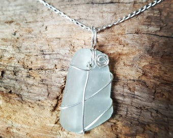 Pale blue sea glass jewellery jewelry ~ necklace ~ sterling silver wire wrap ~ sterling silver curb chain ~ handmade ~ bespoke ~ unique gift
