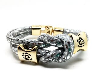 Gift for Girls, handmade knot Bracelet with Golden charms. Gift Box Included. Olive, grey, red, brown, purple available, bracelets for women